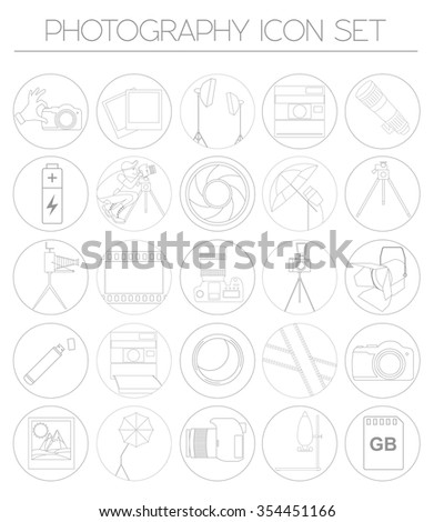 Photography icon set with photo, camera equipment. Outline version. Vector illustration - stock vector