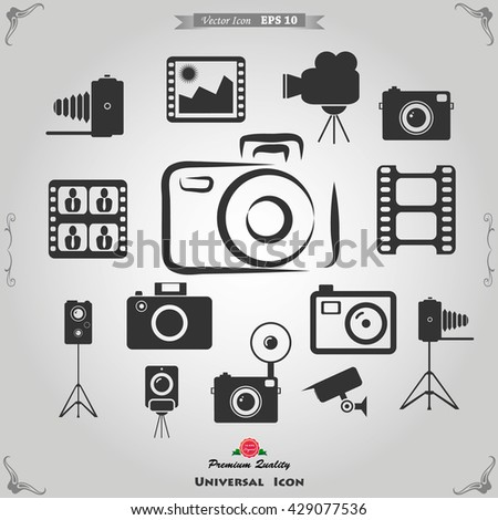 Photography icons and Camera Function Icons, photography Icon - stock vector