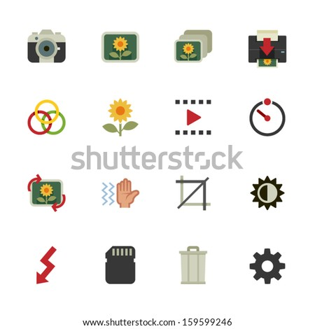 Photography icons and Camera Function Icons with White Background - stock vector