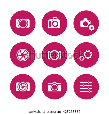 photography icons, camera, aperture, dslr, photography signs, pictograms, round icons on white, vector illustration - stock vector