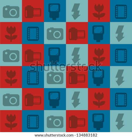 photography icons over squares background. vector illustration - stock vector