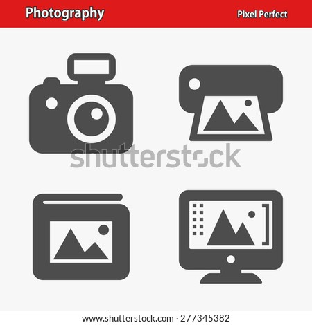 Photography Icons. Professional, pixel perfect icons optimized for both large and small resolutions. EPS 8 format. Designed at 32 x 32 pixels. - stock vector
