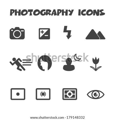 photography mode icons, mono vector symbols - stock vector