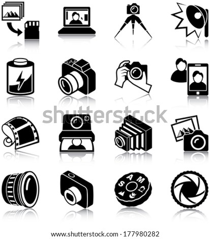 Photography related icons/ silhouettes - stock vector