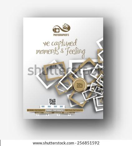 Photography Studio Flyer Design Template - stock vector