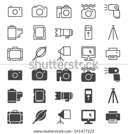 Photography thin icons, included normal and enable state. - stock vector
