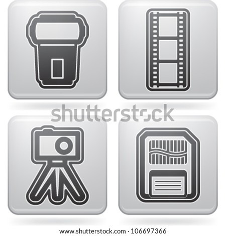 Photography tools & equipment icons set, pictured here from left to right:  Flash gun, Film strip, Compact camera & tripod, Memory card. - stock vector