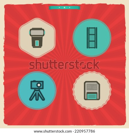Photography tools & equipment icons set, pictured here from left to right, top to bottom -  Flash gun, Film strip, Compact camera & tripod, Memory card. - stock vector