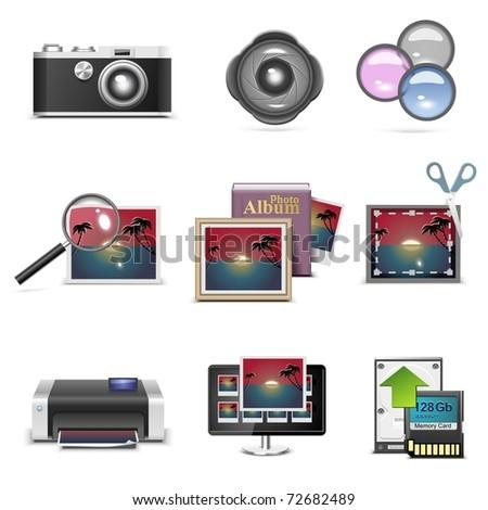 photography vector icon set - stock vector