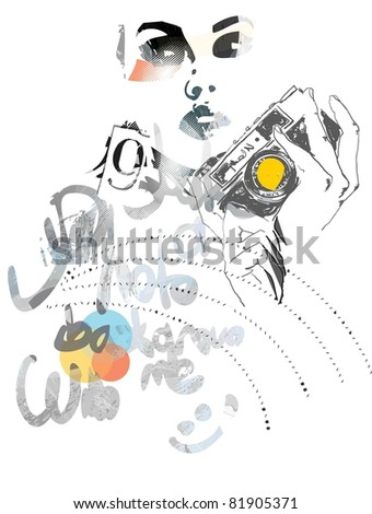 photorapher girl collage arts - stock vector