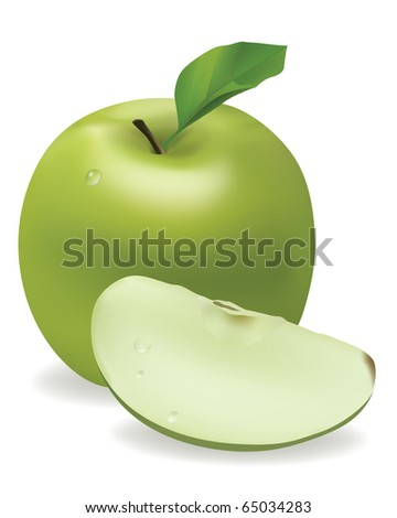 Photorealistic appetizing green apple with dew drops. - stock vector
