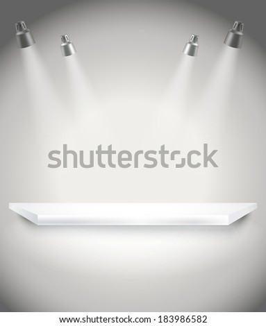 Photorealistic bright stage with spot lights. Presentation vector template - stock vector