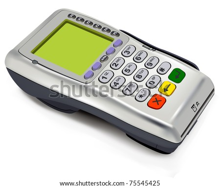 Photorealistic illustration of modern wireless POS-terminal (EPS10) - stock vector
