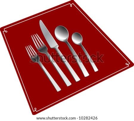 Photorealistic silverware set on red placemat. - stock vector