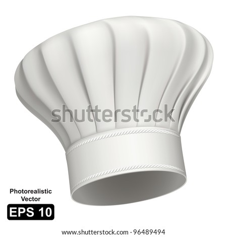 Photorealistic vector illustration of a white chef hat - stock vector