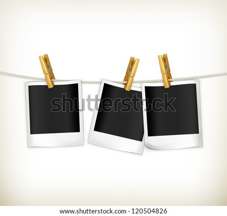 Photos on a rope, vector - stock vector