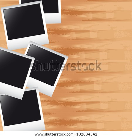 photos over wooden with space for copy background. vector - stock vector