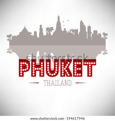 Phuket Thailand skyline silhouette design, vector illustration. - stock vector