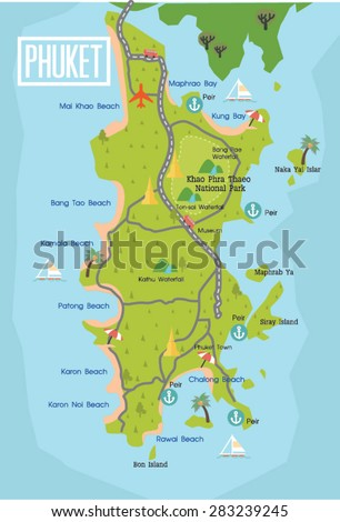 Phuket travel map thailand vector stock vector hd royalty free phuket travel map in thailand vector gumiabroncs Images