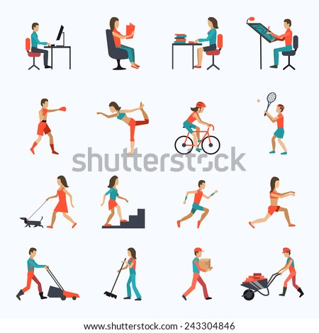 Physical activity icons set with people working cycling training isolated vector illustration - stock vector