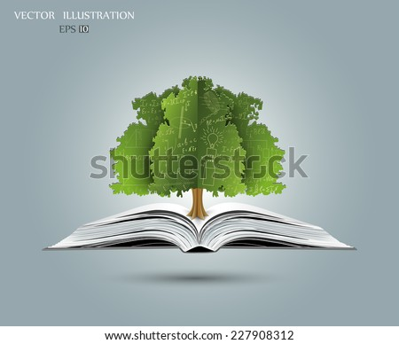 Physical concept, green, paper tree from the mathematical equations and formulas, growing from an open-book, vector illustration modern template design