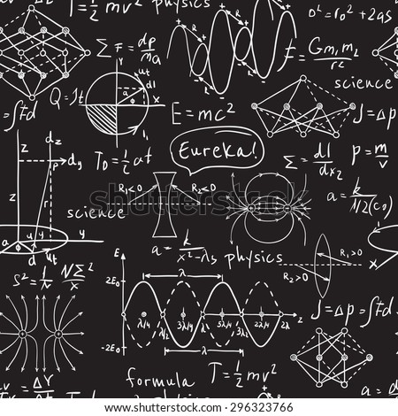 Physical formulas, graphics and scientific calculations on chalkboard. Vintage hand drawn illustration laboratory seamless pattern - stock vector