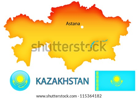 Physical map, blue flag with the symbols of central asian country Kazakhstan - stock vector