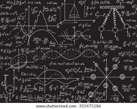 Physical vector seamless pattern with scientific formulas, research equations and figures, handwritten with chalk on a grey board seamless design - stock vector