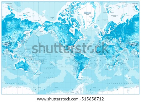Physical World Map America Centered Bathymetry Stock Vector - World map america