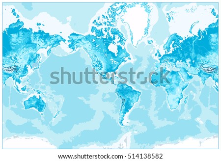 Topographic world map stock images royalty free images vectors physical world map america centered world map in colors of blue no text gumiabroncs Images