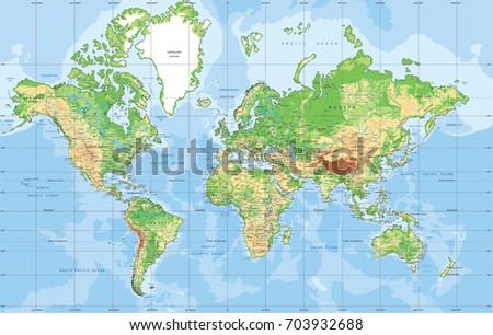 Physical world map mercator projection vector de stock703932688 physical world map in mercator projection gumiabroncs Choice Image
