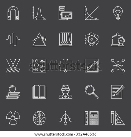 Physics and science icons - vector set of linear education symbols and signs on dark background - stock vector