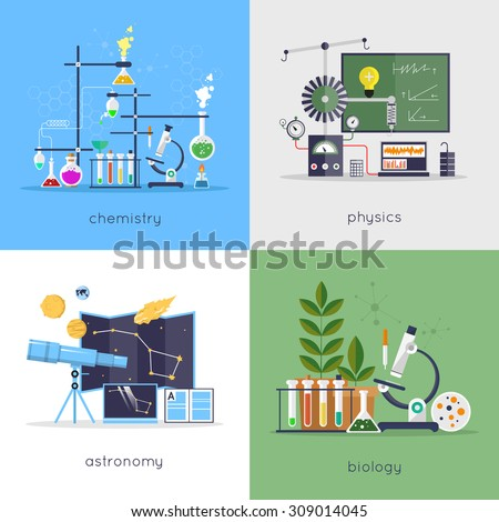 Physics chemistry biology astronomy laboratory workspace em vetor physics chemistry biology astronomy laboratory workspace and science equipment concept flat design ccuart Gallery