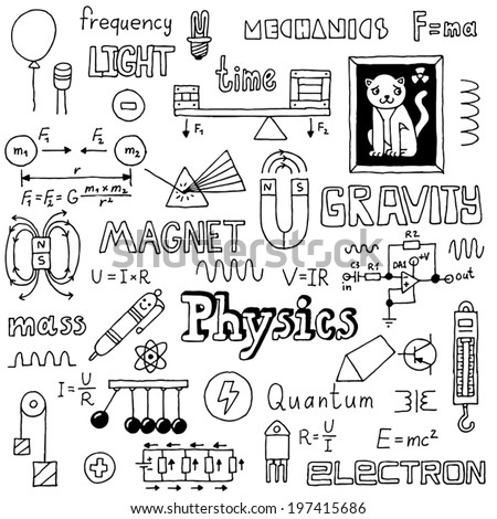 Physics doodles. Hand drawn. Vector illustration. - stock vector