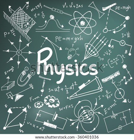 Physics science theory law and mathematical formula equation, doodle handwriting and model icon in in blackboard background paper used for school education and document decoration, create by vector - stock vector