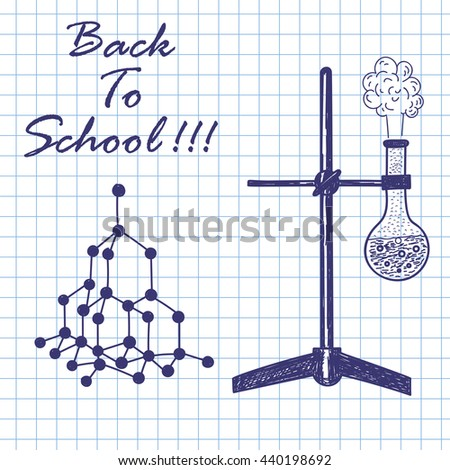 Physics theme. Doodle sketch on checkered paper background. Vector illustration. - stock vector