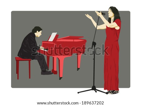 Pianist and Singer - stock vector
