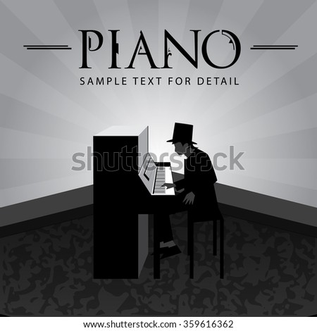 Pianist, Playing piano with spotlight background.
