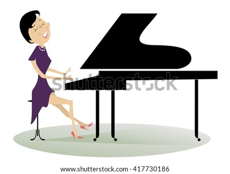 Pianist woman. Pianist is playing music with inspiration  - stock vector
