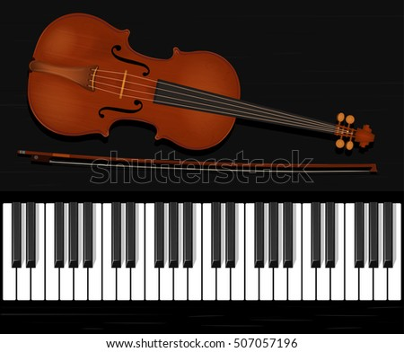 Piano and violin, musical instruments, vector