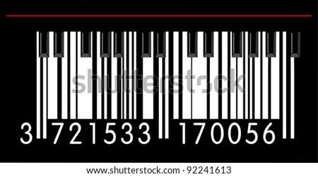 Piano barcode - stock vector