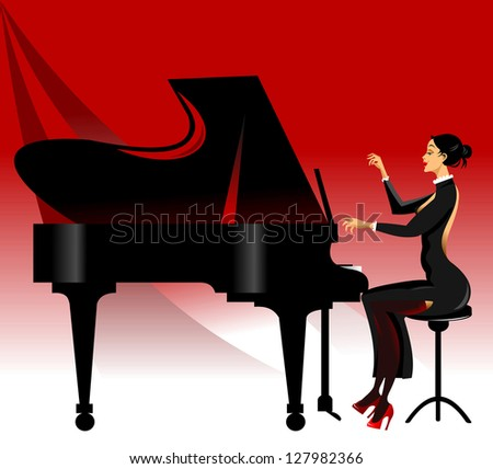 piano black on a red background, vector - stock vector