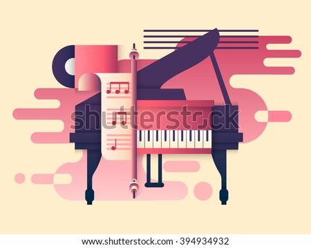 Piano design flat - stock vector