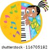Piano Girl - stock vector