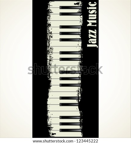Piano key grunge background - stock vector