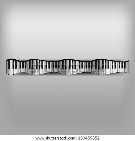Piano keyboard as abstract wave. - stock vector