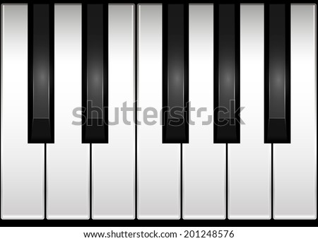 Piano keyboard. One octave. Vector illustration.