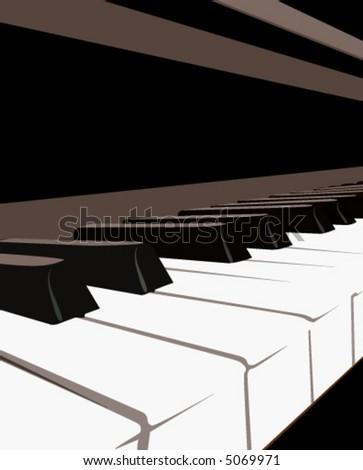 Piano Keyboard, vector - stock vector