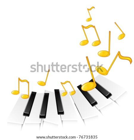 Piano keys and gold notes - stock vector
