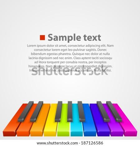 Piano keys colored. Vector - stock vector